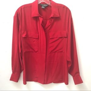 EUC Vintage Red 100% Silk Long Sleeved Blouse Sz 6